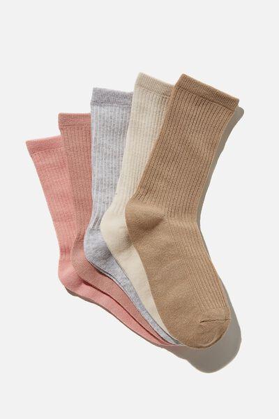 5Pk Everyday Rib Sock, PETAL PINK MIX