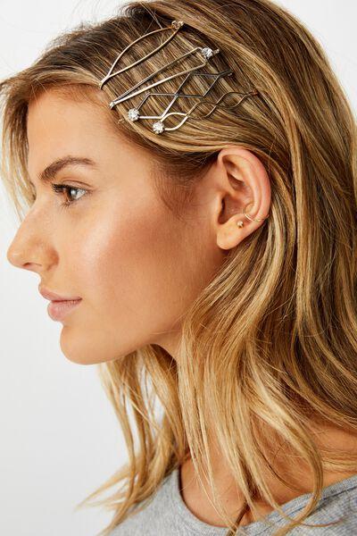 Stamp Shapes Hard Hair Set, GOLD/SILVER/DIA