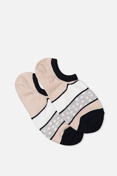 Sports Low Cut Sock, SPOTTED COLOUR BLOCK