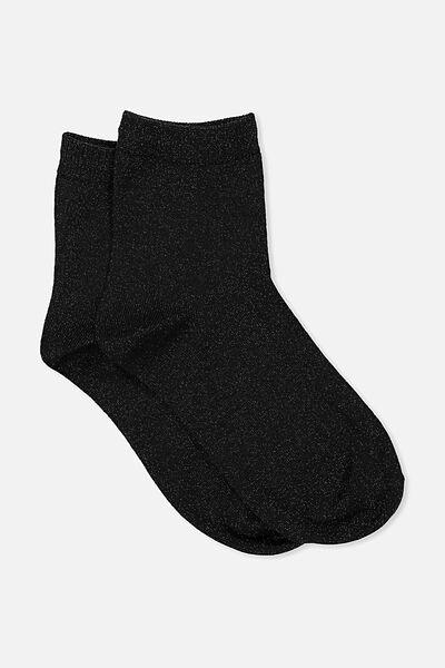 Dorothy Sparkle Sock, BLACK SPARKLE