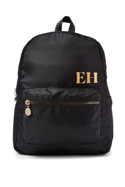 Personalised Traveller Backpack, BLACK-GOLD
