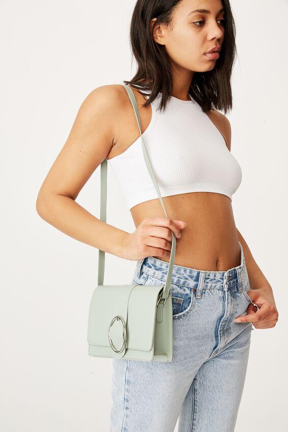 Buckle Cross Body Bag, LUSH GREEN