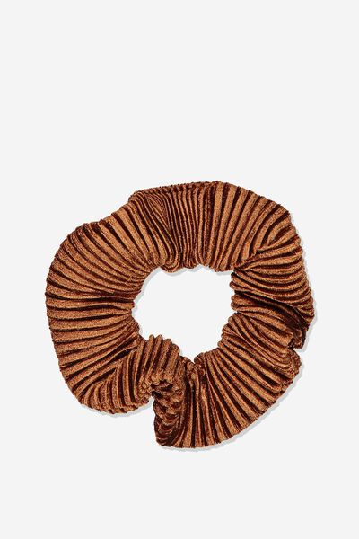 So Me Scrunchie, KHAKI VELVET PLEAT