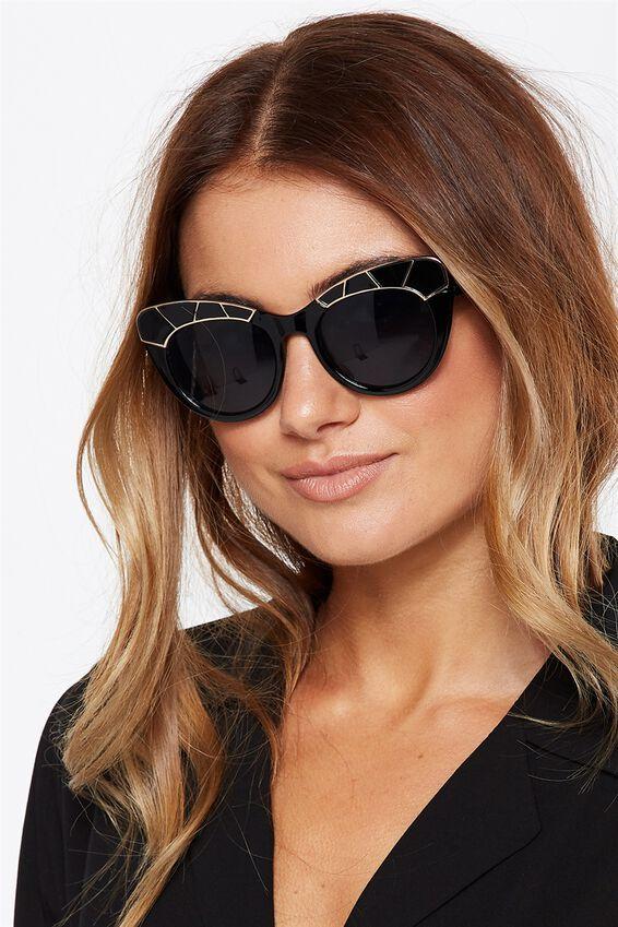 Frankie Cateye Sunglasses, S.BLACK/GOLD