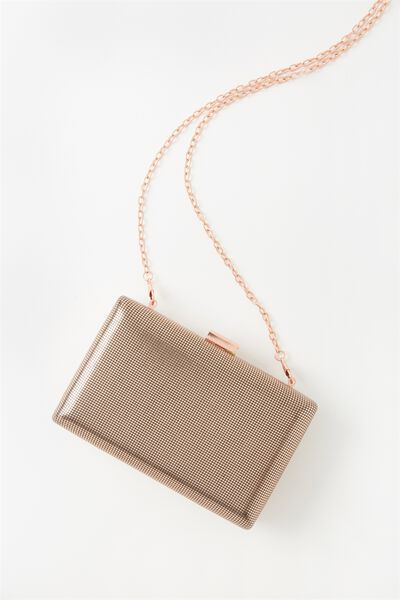 Luxe Box Clutch, ROSE GOLD