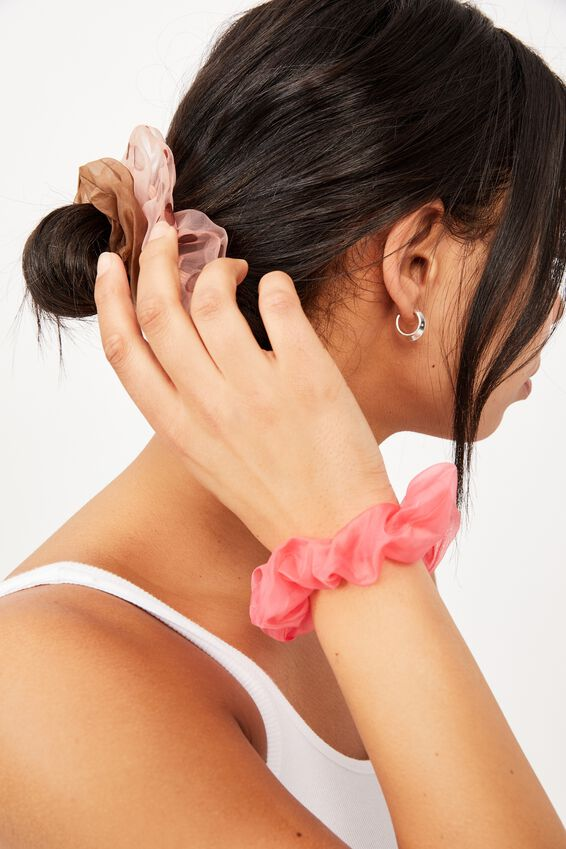 3Pk Scrunchies, ORGANZA CHOCOLATE POLKA DOT TRIO