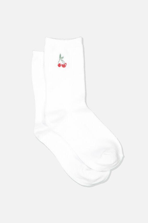 Embroidered Crew Sock, WHITE/CHERRIES