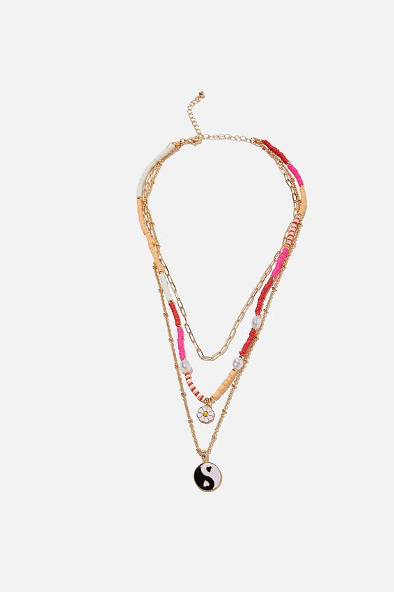 Holiday Beachcomber Layered Necklace, YIN & YANG