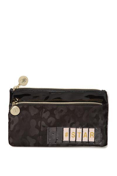 Personalised Dual Zip Cosmetic Case, BLACK LEOPARD