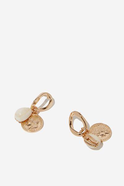 Treasure Box Shells Earring, GOLD/NATURAL