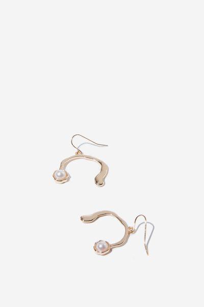 Benarez Earring, PEARL/GOLD