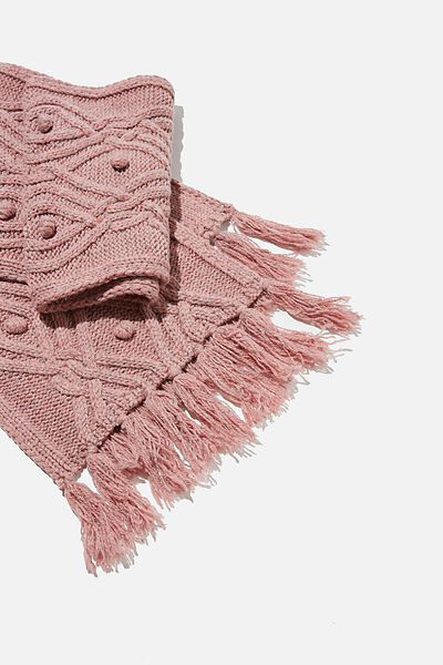 Heritage Knit Scarf, BLUSH INTARSIA CABLE KNIT