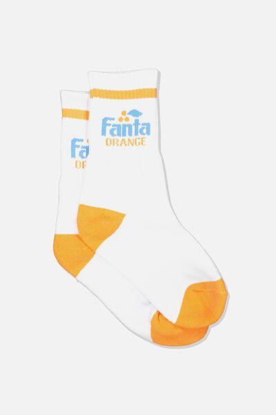 Sporty Stripe Crew Sock, WHITE/FANTA