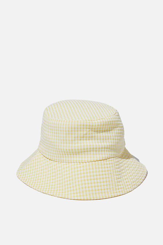 Bianca Bucket Hat, LEMON GINGHAM SEERSUCKER