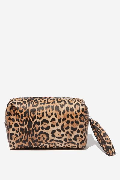 Marlee Cosmetic Case, NATURAL LEOPARD