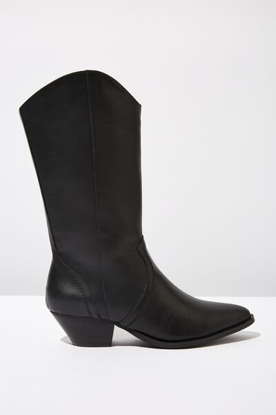 Layla Mid Length Western Boot, BLACK SMOOTH