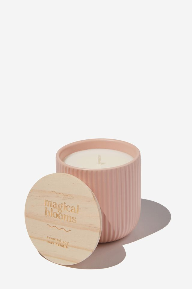 Etched Ceramic Candle, DUSTY PINK