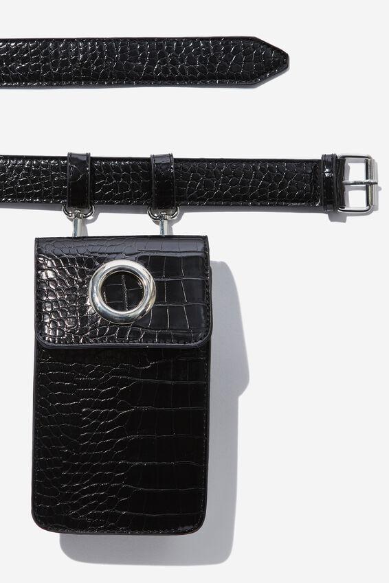 Luxe Croc Belt Bag, BLACK