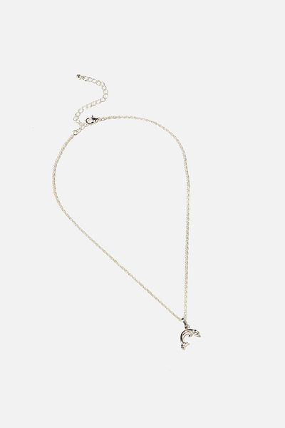 Brighter Days Pendant Necklace, DOLPHIN SILVER
