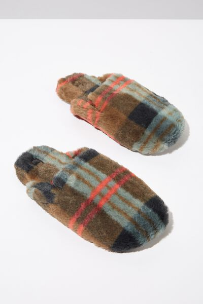 Poppy Slipper Scuff, AQUA CHECK