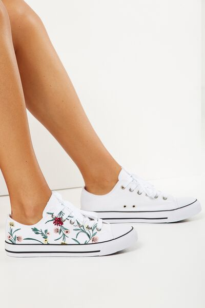 Jodi Low Rise Sneaker 1, FLORAL EMBROIDERY