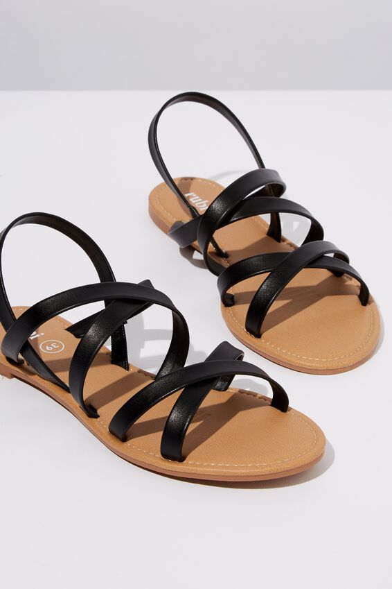 Everyday Strappy Sling Back, BLACK PU