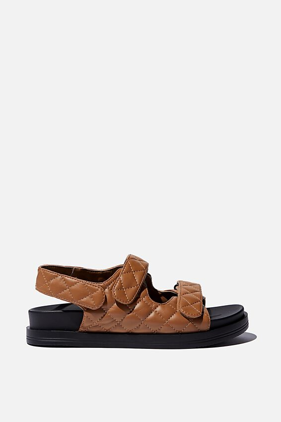 Taylor Velcro Sporty Sandal, TAN QUILTED PU