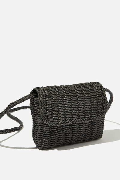 Boxy Woven Cross Body Bag, BLACK