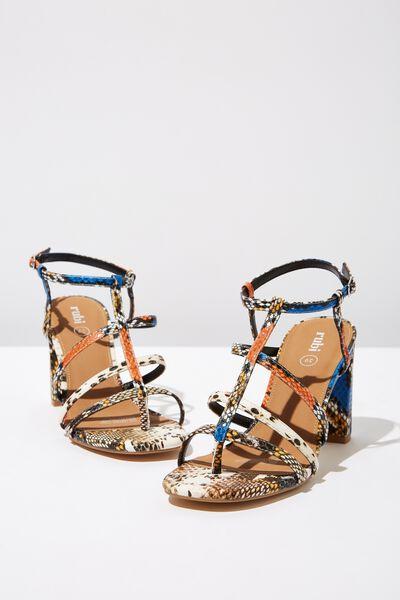 Farrah Strappy Toe Post Heel, COLOURED TEXTURE PU