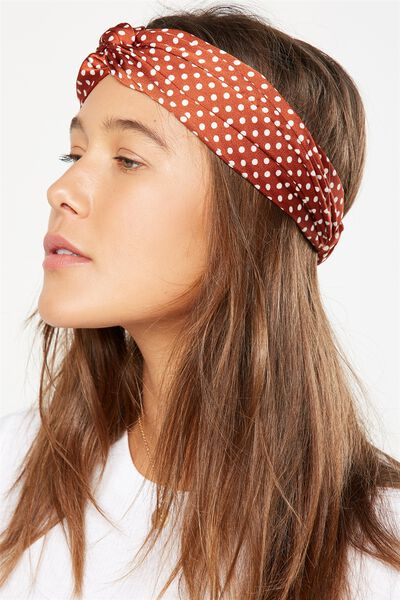 Manhattan Headband, RUST/CREAM POLKA DOT