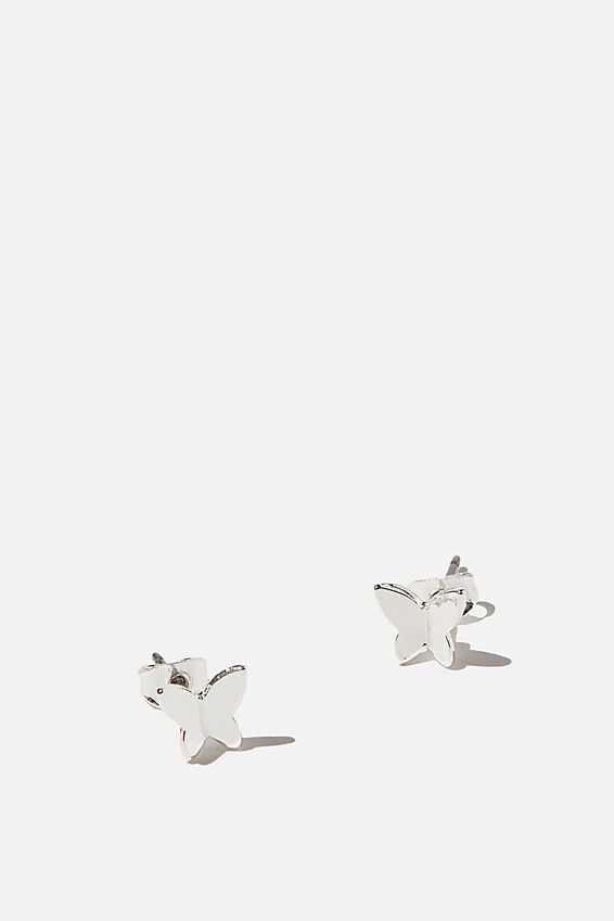 Premium Stud Earrings, STERLING SILVER PLATED BUTTERFLY