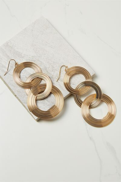 Entwined Metal Earring, GOLD
