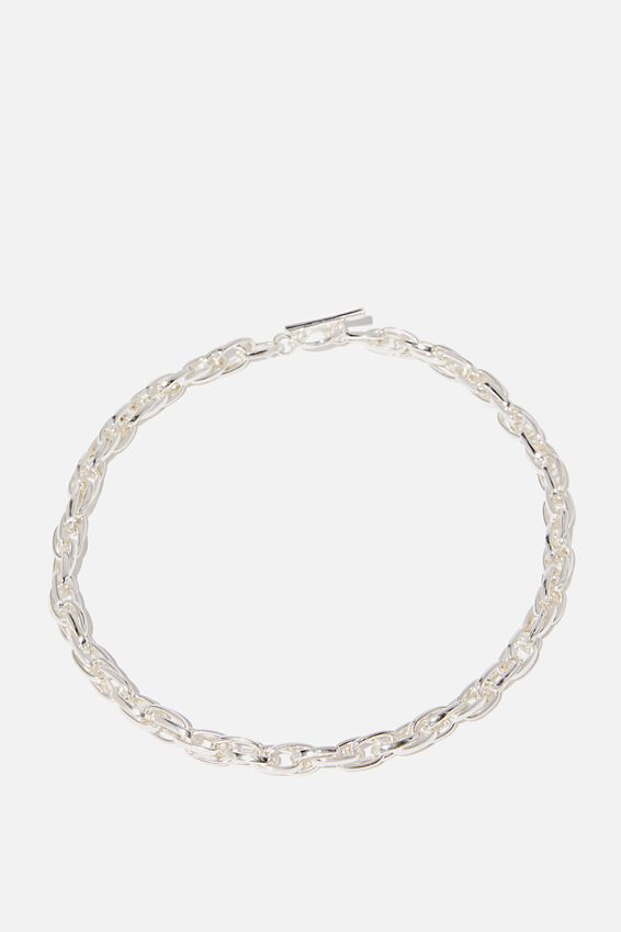 Chunky Rope Chain Fob Treasures Necklace, SILVER