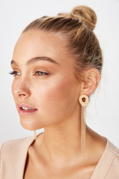 Layla Baroque Earring, GOLD/AMBER