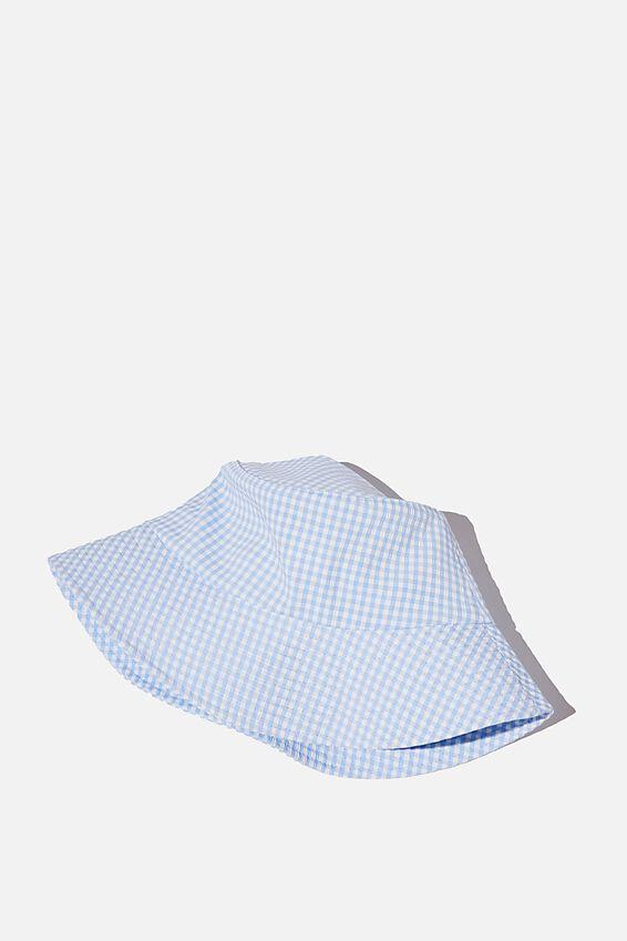 Bianca Bucket Hat, COLLEGIATE BLUE GINGHAM SEERSUCKER
