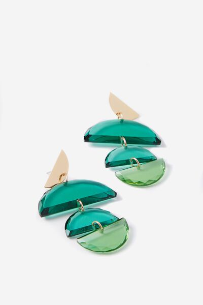 Montego Earring, TINTED LUSH MEADOW/GOLD