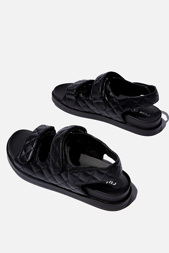 Taylor Velcro Sporty Sandal, BLACK QUILTED PU
