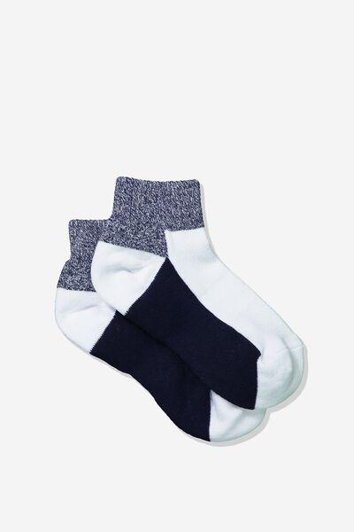 Cushioned Quarter Crew Sock, NAVY/GREY