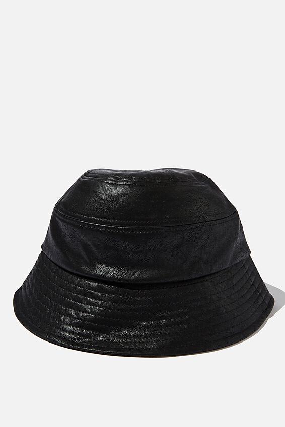 Pia Bucket Hat, BLACK PU