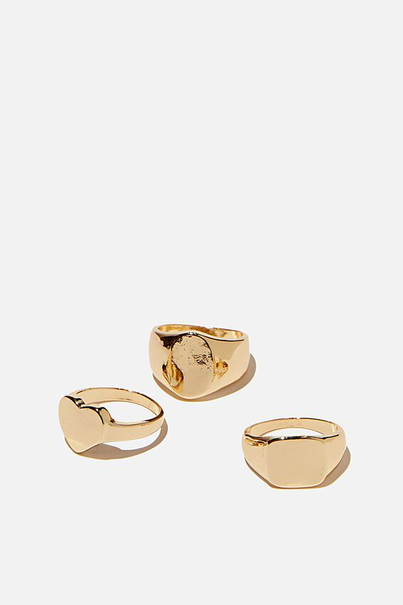 Brighter Days Ring Set, CLASSIC SIGNET GOLD