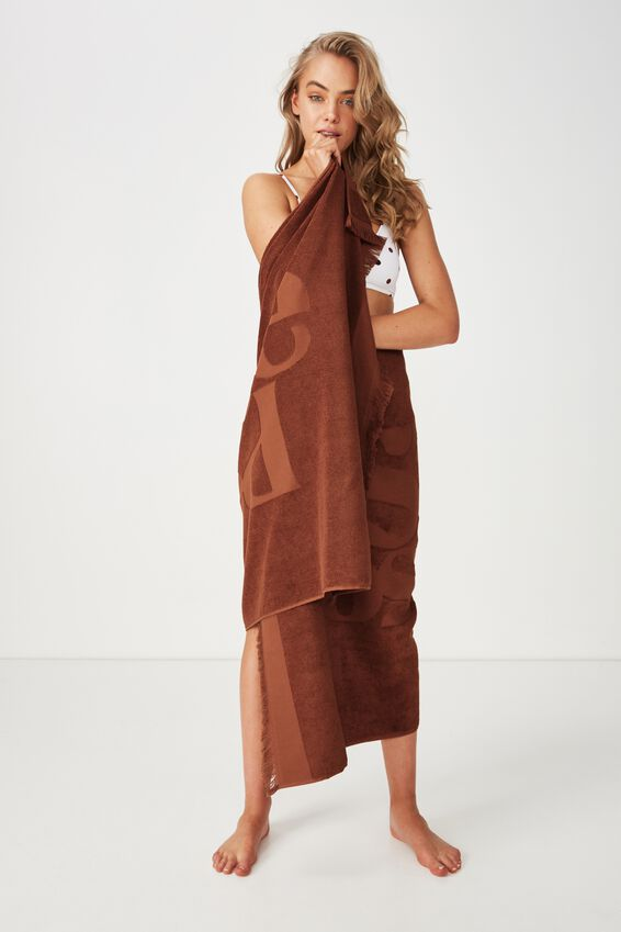 Love A Jacquard Towel, RUST TEXT STRANGE