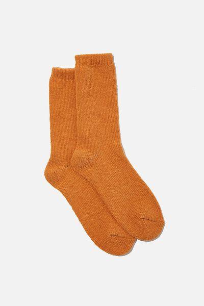 Chenille Cosy Sock, RUST