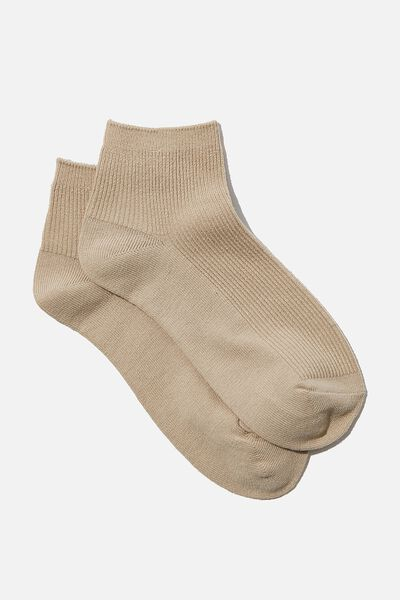 Ribbed Mini Crew Sock, OAT