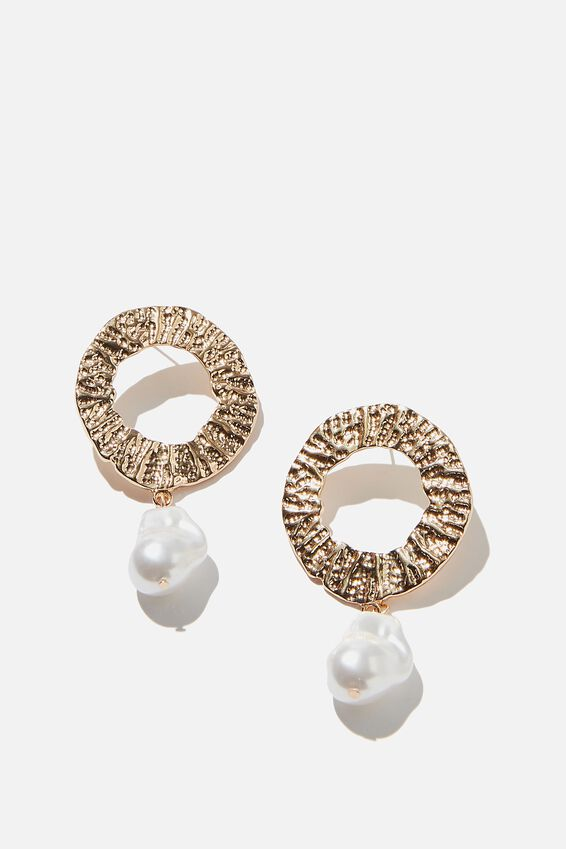 Molten Circle And Pearl Treasures Earring, GOLD/PEARL