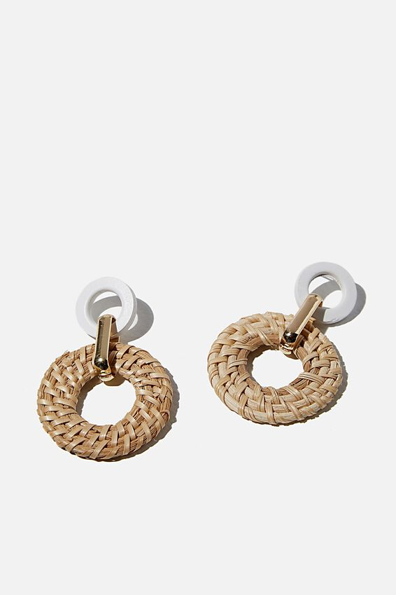 Arizona Earring, LIGHT RATTAN/WHITE