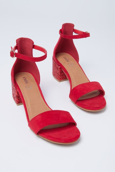 Ivy Low Block Heel, RED/RED GLITTER