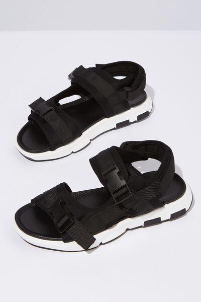 Amy Sporty Sandal, BLACK