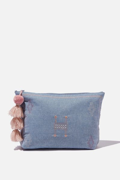 Large Pouch, BLUE EMBROIDERY