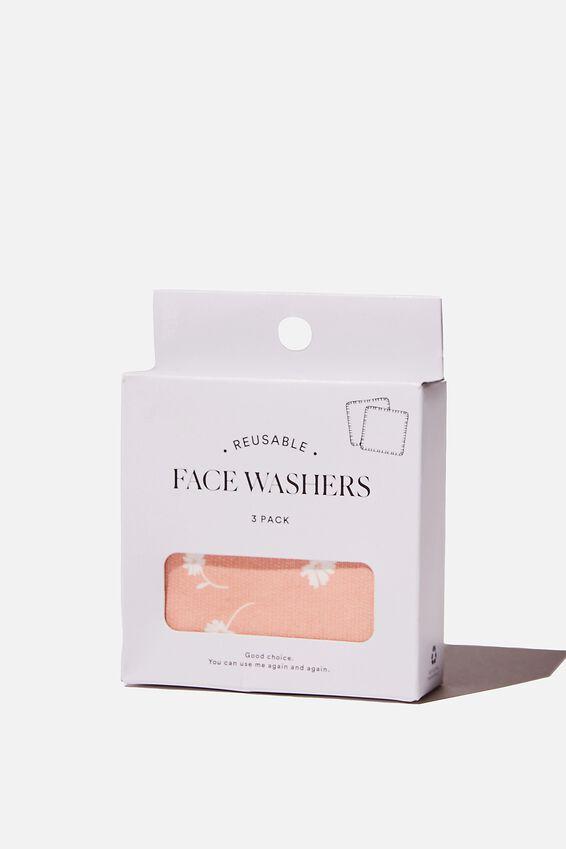 Reusable Face Washer 3Pk, ADELE DAISY/DUSK BLUSH
