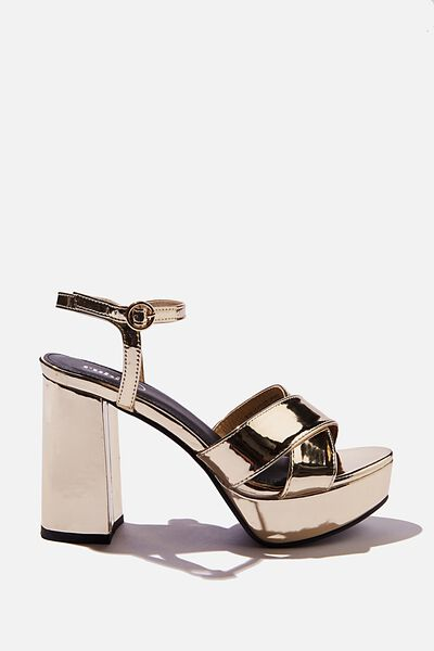 Esther Platform Heel, METALLIC GOLD